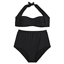 beb9c4cfa31 2XL-BLACK-Halter Plus Size High Waisted Bikini Set