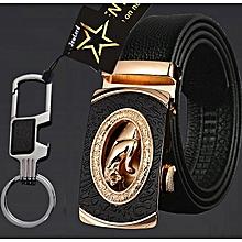 2fe714a4951 JewLord Designer Automatic Buckle Belt  amp  Belt-Clip Keyholder Set