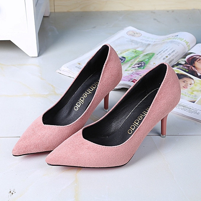 23dadd2b7ce0 Women s Leather Heels New High Quality Shoes Classic Matte Pink matte Pink  Pumps Shoes For Office Ladies