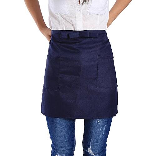 Short Half Waist Bow Apron Pocket Chef Bistro Waitress Cafe Bar Pub Waiter Navy Blue