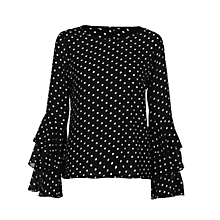 338238ab17b16 Women Ladies Long Bell Flare Sleeve Loose Polka Dot Shirt Casual Blouse Tops