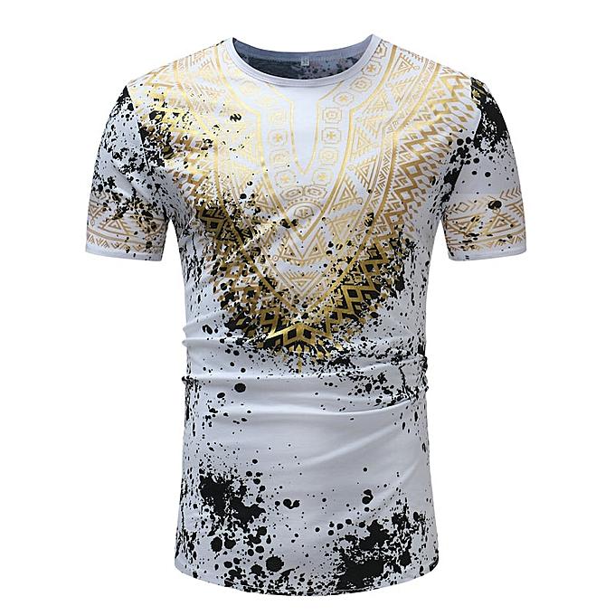 82e28ed94 Creative Summer Dashiki Printed T Shirt Men Golden Print Traditional Short  Sleeve Tops Clothing M-