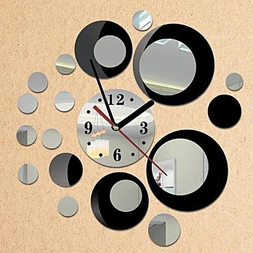 Removable Diy Acrylic 3D Mirror Wall Sticker Decorative Clock-Black