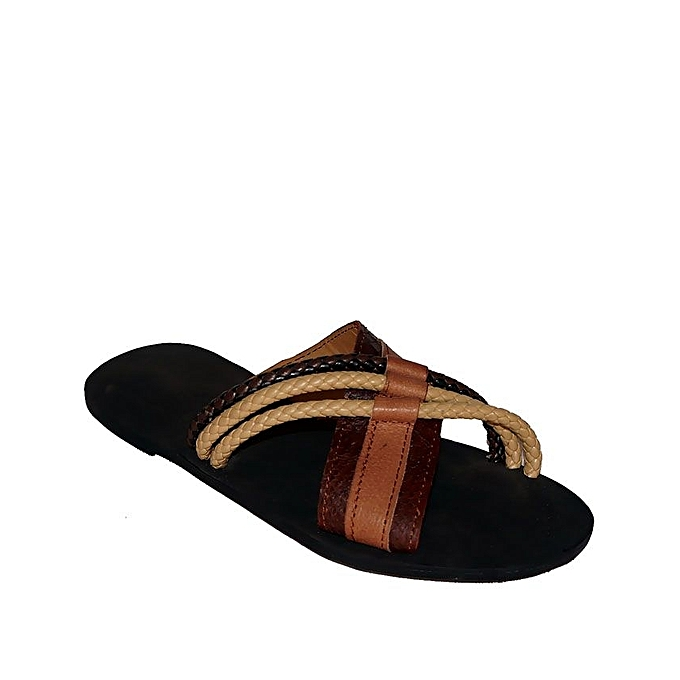 1ab1fd92e767 Yelate Men s Leather Slippers - Brown