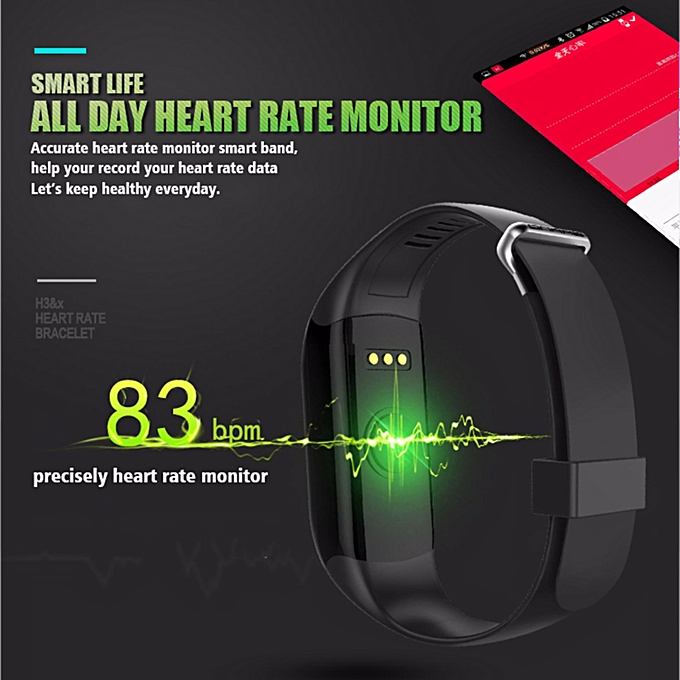 H3 Smart Band Bracelet IP69 Waterproof Heart Rate Monitor Bluetooth Smart  Wristband For IOS Samsung Xiaomi Huawei (Black) XD-SS