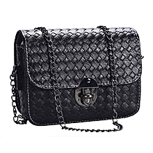 d257d5e0a0 Girl Leather Mini Small Woven Pattern Shoulder Bag Handbag Messenger -Black