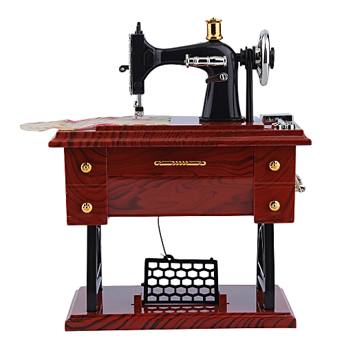Vintage Music Box Mini Sewing Machine Style Mechanical Jewelry Box Birthday Gift Table Decor-Brown