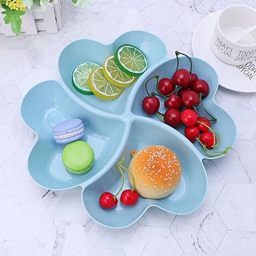 Partitioned 2 In 1 Heart Snack Plate (Blue & Peach)