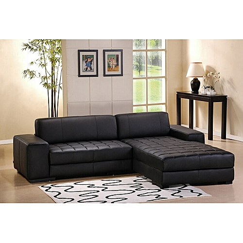 Designer L-shaped Sofa . Black Leather .Order Now And Get OTTOMAN Free (DELIVERY ONLY IN LAGOS)