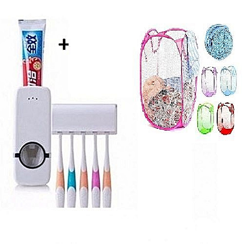 Toothpaste Dispenser & Tooth Brush Holder + 1 Free Foldable Laundry Baskett.- Any Colour
