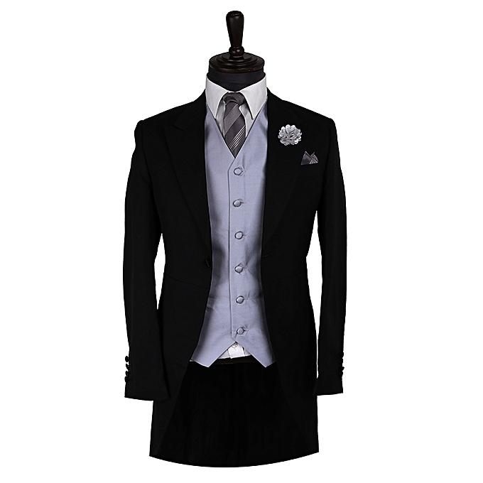 Vrhunska obleka David Wej z ogrinjalom s sivim telovnikom-3464