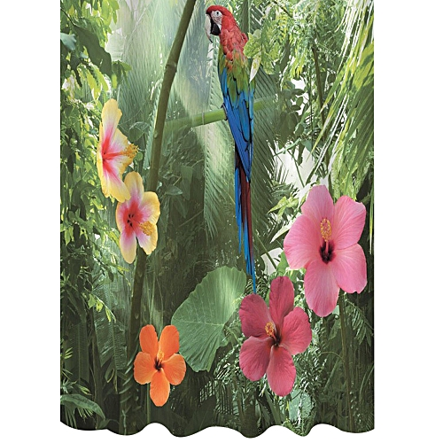 3D Waterproof Polyester Shower Curtain Parrot Nature Pattern With 12 Plastic Hooks