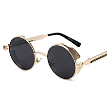 0cdebd2efff High Quality Retro Women Round Sunglasses Steampunk Metal Frame Vintage  Round Sun Glasses Male Female Mirror