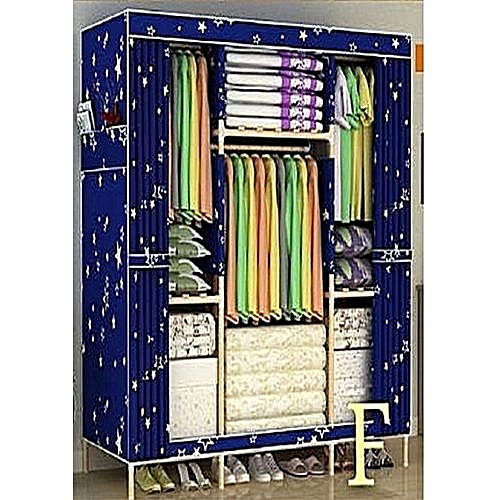 Mobile Wooden Wardrobe (3 Columns 6 Compartments)