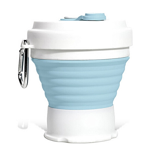 Silicone Folding Retractable Coffee Cup 350ml - Baby Blue