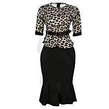 687d7edfebd3 Ladies Office Flare Long Dress With Belt - Multicolor