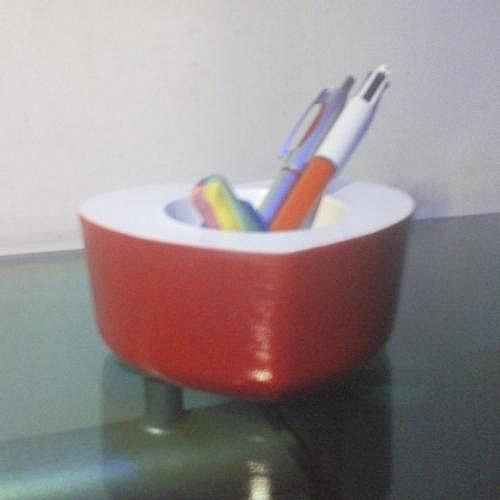 Hand-made Red And White Pen/Pencil Table Holder