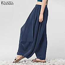 fb5c453de55 ZANZEA Women Mid Waisted Casual Loose Long Long Trousers Summer Ladies Wide  Leg Party Club Harem