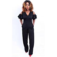 9bf25e0038a Black Wrap Jumpsuit With Cold Shoulder