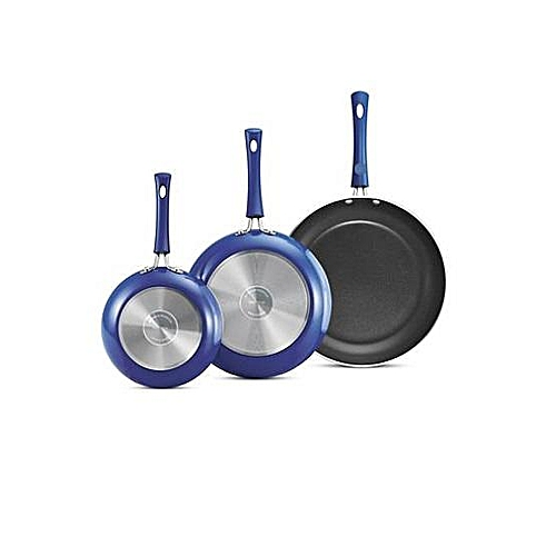 Non-Stick 3 Pack Fry Pans - Blue