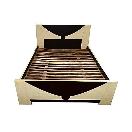 5x6 Spanky Bed Frame - Off White & Dark Brown
