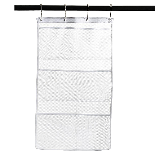 Quick Dry Hanging Bath Organizer With 6 Pockets, Hang On Shower Curtain Rod Save Space In Small Bathroom Tub With 4 Rings