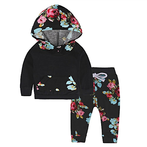 Newborn Infant Baby Boy Clothes Long Sleeve Set Hoodie Tops+Floral Pants Outfit Musiccool