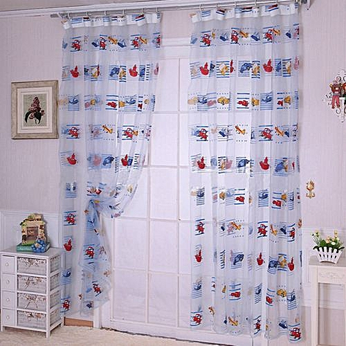 Cartoon Car Print Kids Room Window Door Curtain Divider Voile Screen Panel Drape