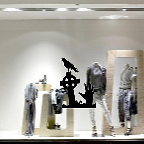 Hallowen Grave Skull Hand Showcase Glass Window Decor Wall Sticker Party House Home Decoration Creative Decal DIY Mural Wall Art Sticker