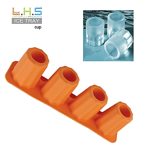 4-Cup Ice Cube Shot Shape Rubber Shooters Glass Freeze Mold Maker Tray Party-Yellow