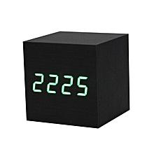 c8d586240 Digital LED Black Wooden Wood Desk Alarm Brown Clock Voice Control GN-Green