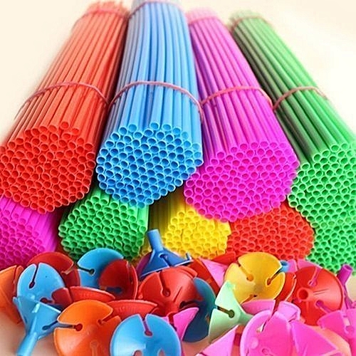 Balloon Holder Sticks And For Birthday Wedding Party Favors And Decorations (30 Sets) - For Kids And Adults - Multicolour