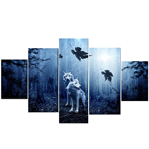 Wolf Wall Art Canvas 5 Panels Home Decor Prints Painting Picture Predator Forest#unframe