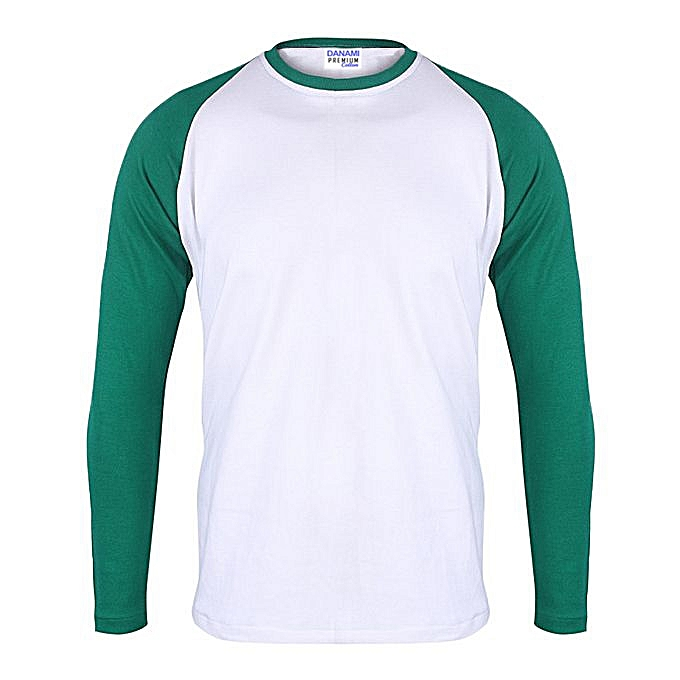Danami Plain Long Sleeve Round Neck T-Shirt- Green  White  d9caa29e2f2