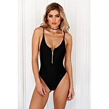 569971f555624 Bikinis Front Zipper Sleeveless Backless Scoop Neck Bodycon Swimwear