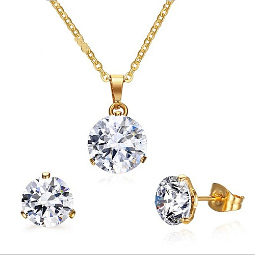 Simple Stainless Steel Gold Jewelry Sets For Women Rhinestone Crystal Wedding Necklace Earring Set For Ladies S-160