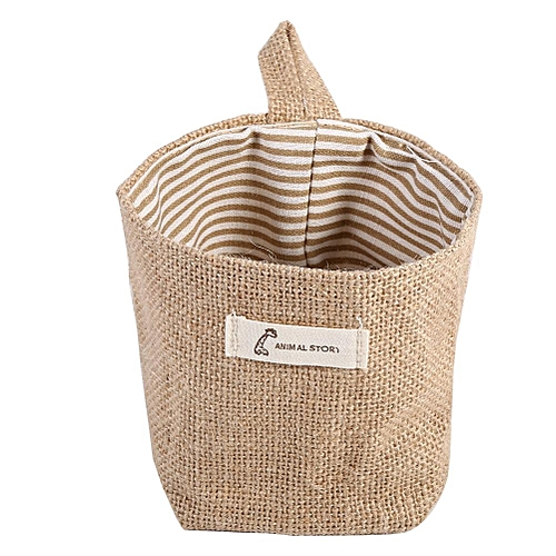 Foldable Cotton Linen Hamper Hanging Bag Khaki Stripe