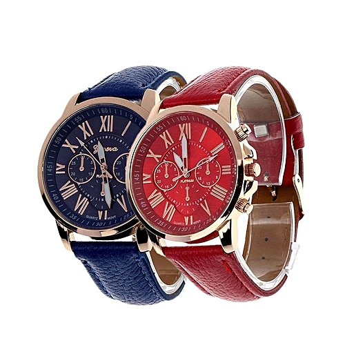 Geneva 2 In 1 Ladies Leather Watch - Red & Blue
