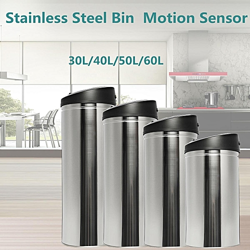 Stainless Steel Bin Rubbish Touch-Free Motion Sensor Waste Automatic Trash Can 50L