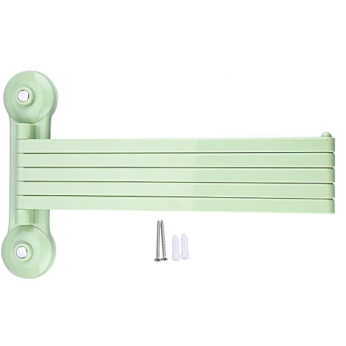 Wall Mount Rotating Towel Holder Plastic Rack 5 Bars Bathroom Shelf Storage Organizer