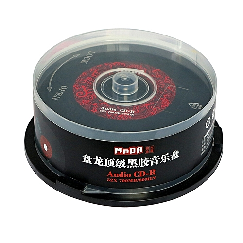 25 MNDADISK 700MB 52x 80Minute Branded Recordable Disc CD-R 25-Disk Spindle Long Playing Audio CD