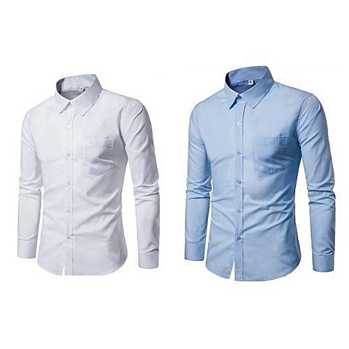 Classic Men Plain Shirts - White And Blue