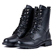 b13fd827da99 Women  039 s Cool Black PUNK Military Army Knight Lace-up Short Boots