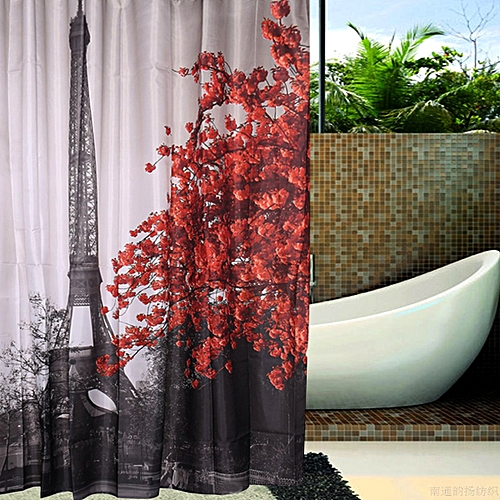 Aestheticism Retro Paris Maple Tower Bathroom Fabric Shower Curtain W/ 12 Hooks
