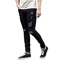 5fa458ff Men Super Skinny Stretch Denim Biker Jeans Destroyed Taped Slim Fit Pants