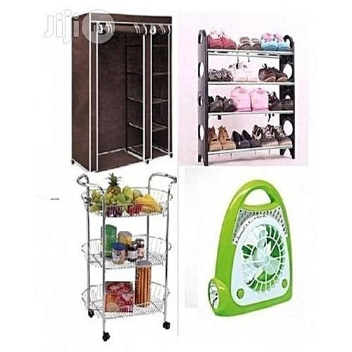 Mobile Wardrobe, Rechargeable Flood Light, 12 Pairs Shoe Rack And Kitchen Trolley
