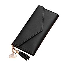 Long Lady Wallet PU Women Purse Handbag Solid Clutch Bag Cards Cash Holder Black