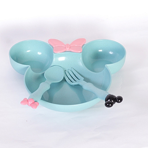 Tableware Set For Kids, Blue (3 Piece,Plate + Spoon + Fork)