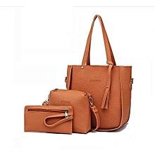 Handbag Leather Las Of Favor With 3 Sets Brown