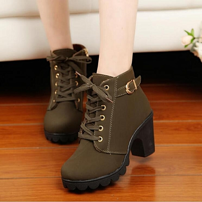 d5d1df1e55dc Women Chunky Block High Heel Ankle Boots Winter Nubuck Buckle Martin Boot  Shoes Army Green ...